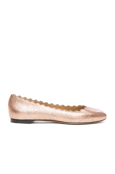 Chloe Lauren Leather Flats in Pink Gold