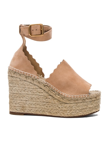 Chloe Suede Lauren Espadrille Wedges in Reef Shell