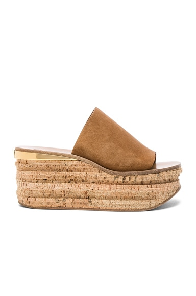 Chloe Suede Camille Wedge Sandals in Cappuccino