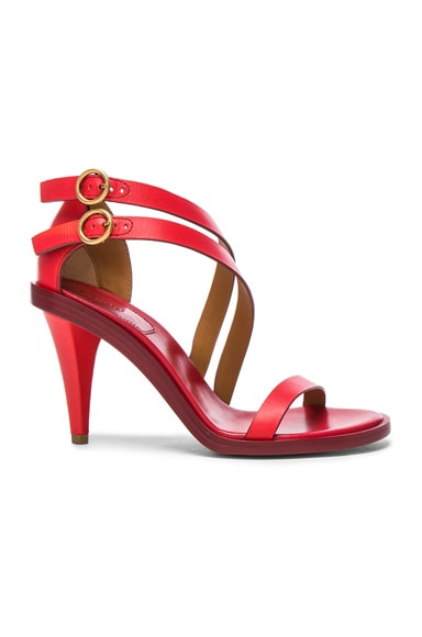 Chloe Leather Niko Sandals in Hot Coral