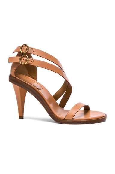 Chloe Leather Niko Sandals in Misty Beige