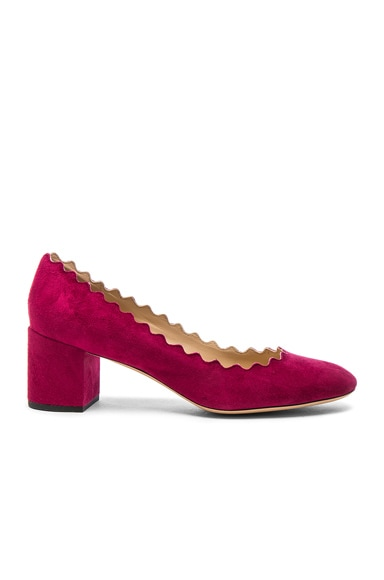 Chloe Suede Lauren Heels in Red Orchid