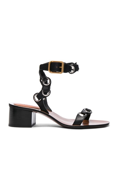 Chloe Leather Miller Sandals in Black