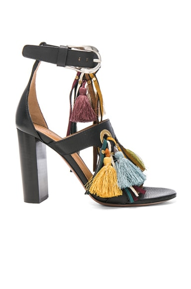 Chloe Miki Tassel Sandals in Mix Black