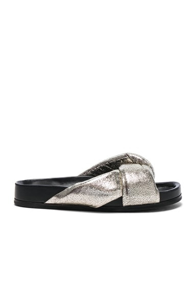 Chloe Metallic Leather Nolan Slides in Grey Glitter