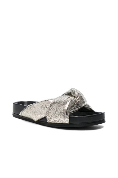 Metallic Leather Nolan Slides