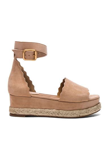 Chloe Suede Lauren Platform Sandals in Reef Shell