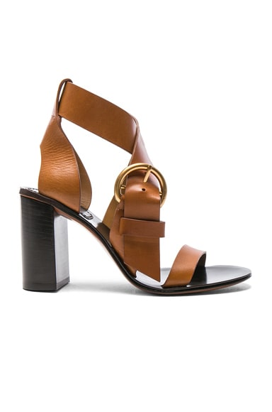 Chloe Leather Nils Sandals in Praline