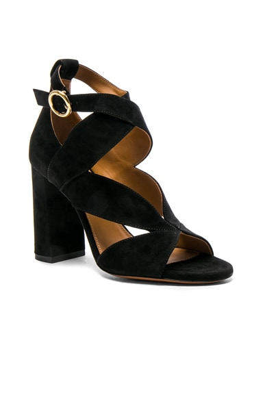 Suede Graphic Leaves Sandals