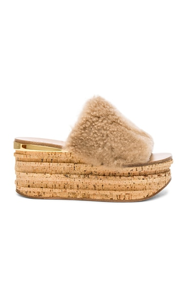 Sheep Fur Camille Wedge Sandals