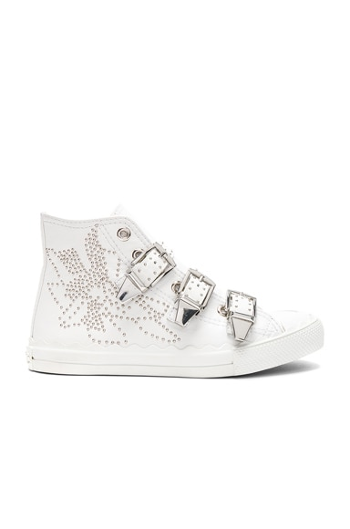 Kyle Semi-Shiny Calf Leather Buckle Sneakers