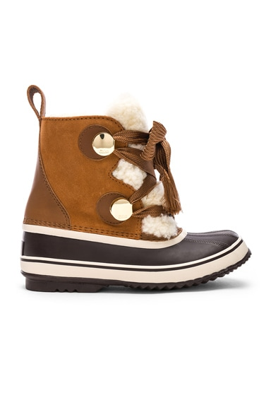 x Sorel Shearling & Suede Hiking Boots