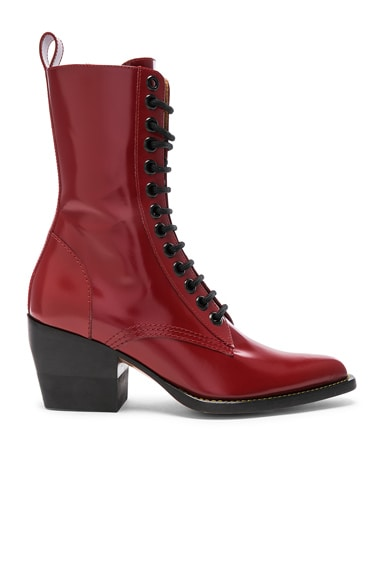 Rylee Shiny Leather Lace Up Buckle Boots