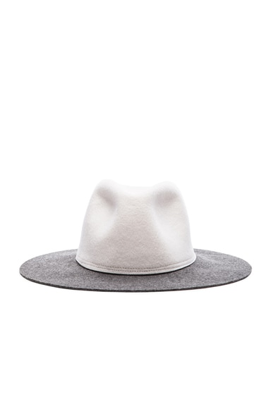 Clyde Two Tone Pinch Hat in Alabaster & Charcoal