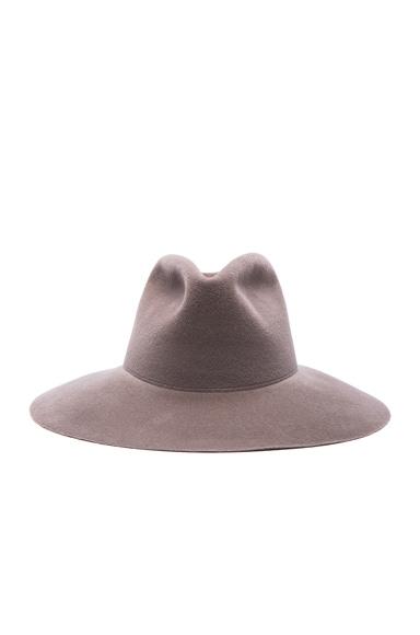 Clyde Wide Brim Pinch Hat in Mink