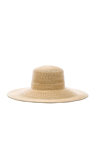 Clyde Wide Brim Flat Top Hat in Natural