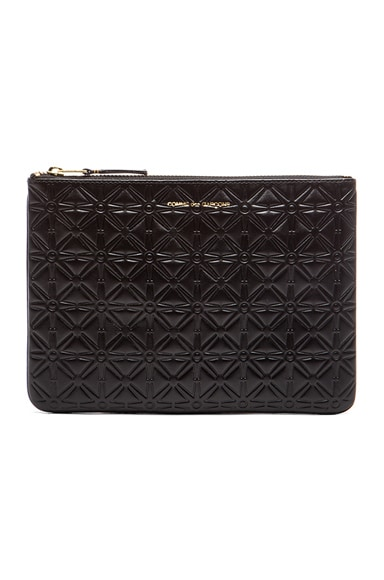 Comme Des Garcons Star Embossed Pouch in Black