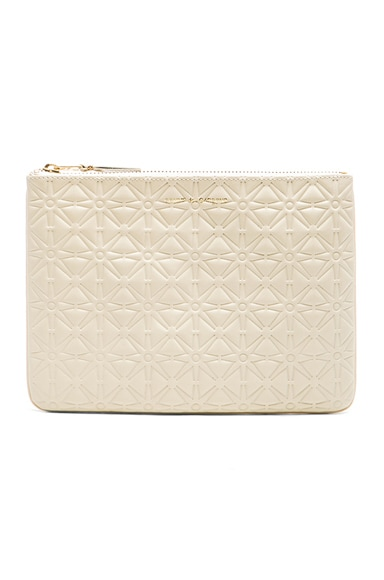 Comme Des Garcons Star Embossed Pouch in Off White