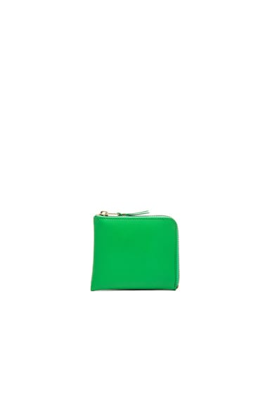 Comme Des Garcons Small Zip Wallet in Green