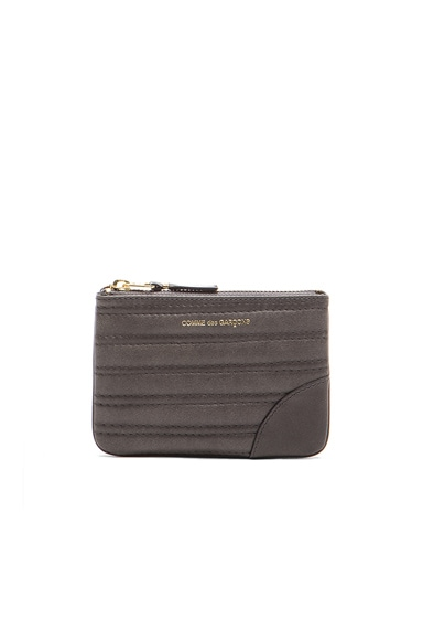 Comme Des Garcons Embossed Stitch Small Pouch in Grey