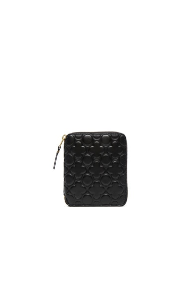 Comme Des Garcons Clover Embossed Zip Fold Wallet in Black