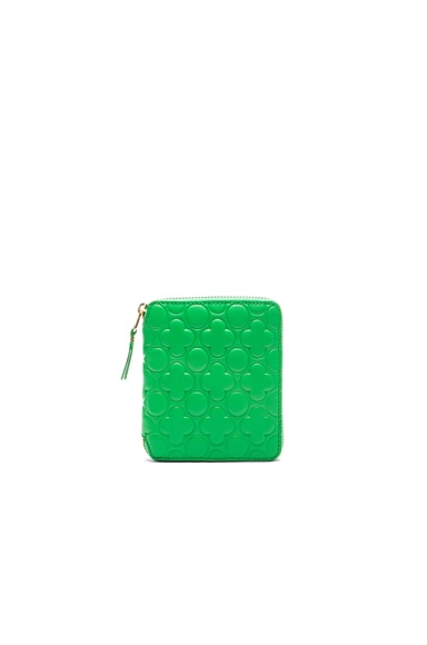 Comme Des Garcons Clover Embossed Zip Fold Wallet in Green