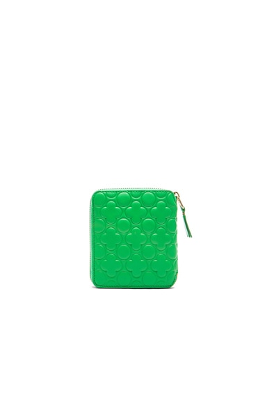 Clover Embossed Zip Fold Wallet