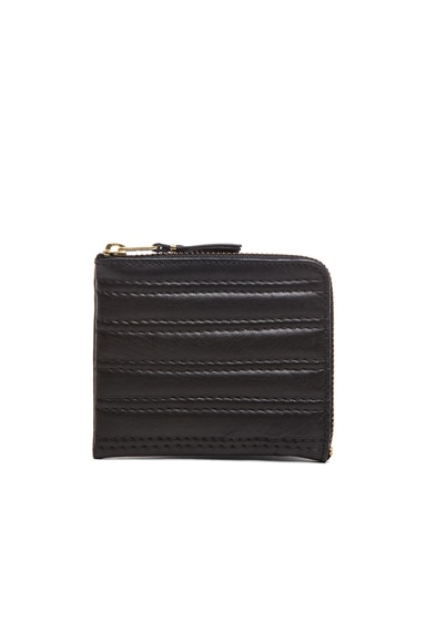 Comme Des Garcons Embossed Stitch Small Zip Wallet in Black