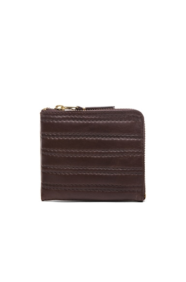 Comme Des Garcons Embossed Stitch Small Zip Wallet in Brown
