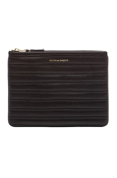 Comme Des Garcons Embossed Stitch Pouch in Black