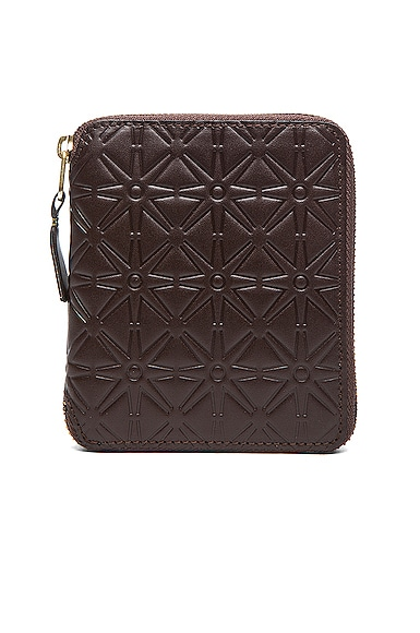 Comme Des Garcons Star Embossed Zip Fold Wallet in Brown