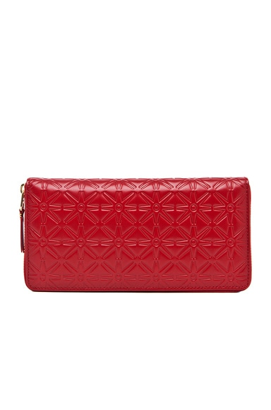Comme Des Garcons Star Embossed Long Wallet in Red