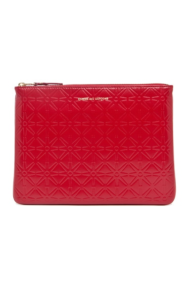 Comme Des Garcons Star Embossed Pouch in Red