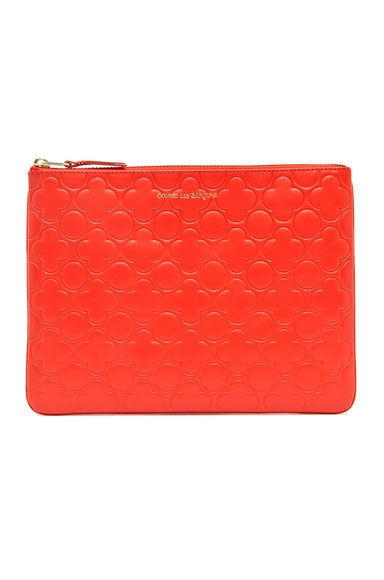 Comme Des Garcons Clover Embossed Pouch in Orange