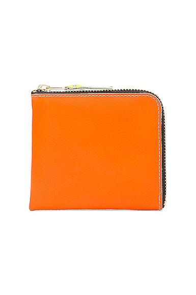Comme Des Garcons Super Fluo Zip Wallet in Orange & Pink