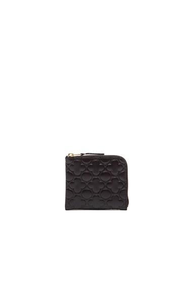 Comme Des Garcons Clover Embossed Small Zip Wallet in Black