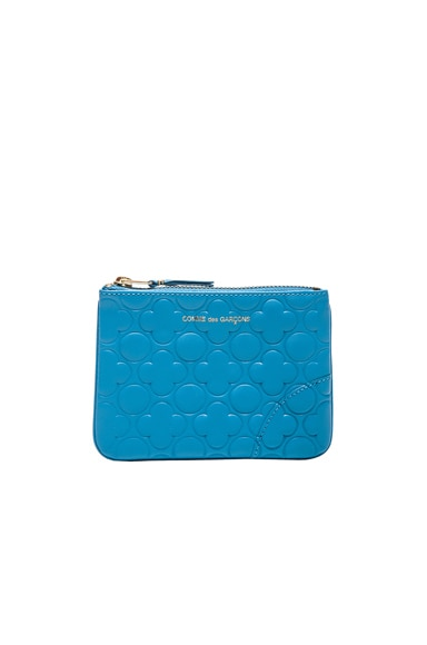 Comme Des Garcons Clover Embossed Small Pouch in Blue