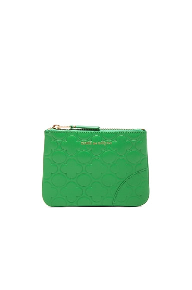 Comme Des Garcons Clover Embossed Small Pouch in Green