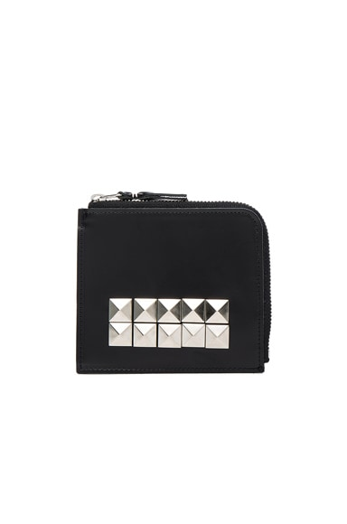 Comme Des Garcons Studded Leather Zip Wallet in Black