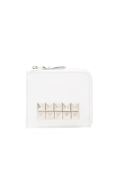 Comme Des Garcons Studded Leather Zip Wallet in White