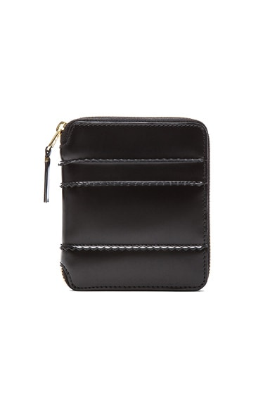 Comme Des Garcons Raised Spike Zip Fold Wallet in Black