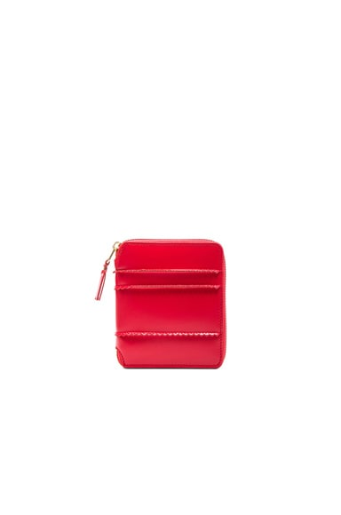 Comme Des Garcons Raised Spike Zip Fold Wallet in Red