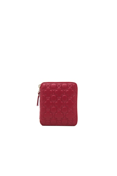Comme Des Garcons Clover Embossed Zip Fold Wallet in Red