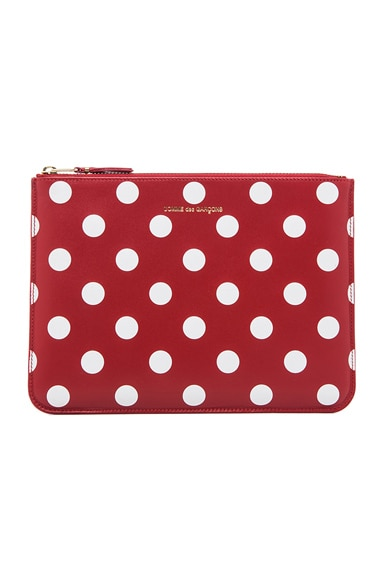 Comme Des Garcons Polka Dot Pouch in Red