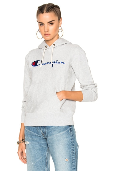 Champion Hooded Sweatshirt in Heather Gray