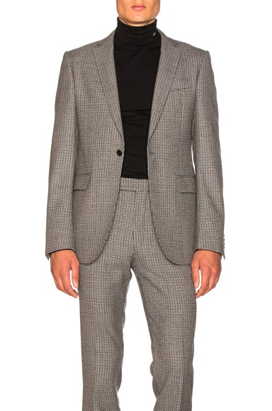 Fancy Wool Check Single Breasted Jacket