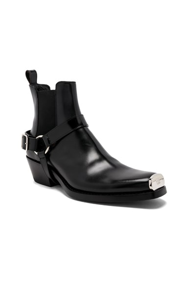 Leather Western Harness Boots