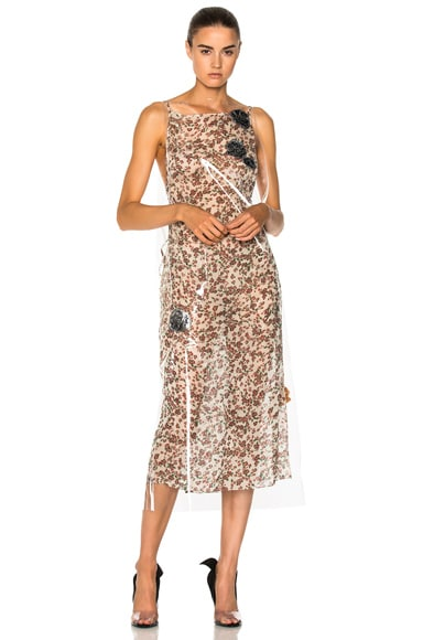 Floral Print Midi Dress With Transparent Overlayer in Multicoloured