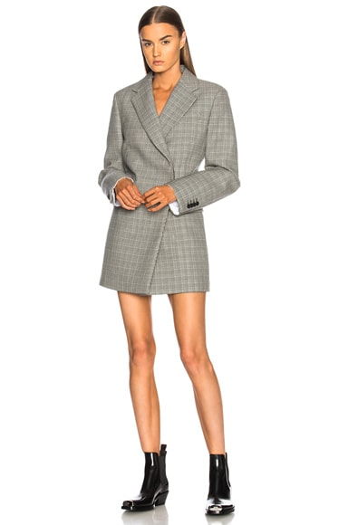 Double Face Glen Plaid High Twisted Wool Blazer Dress