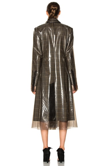 Glen Plaid Wool & Matte Polyurethane Film Trench Coat